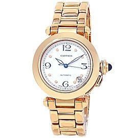 Cartier Pasha 18k Yellow Gold Automatic White Men's Watch 1035