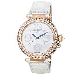 Cartier Pasha 18k Rose Gold Auto Diamonds Mother of Pearl Ladies Watch WJ124005