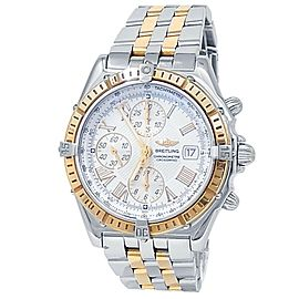 Breitling Crosswind 18k Yellow Gold Stainless Steel Auto White Mens Watch D13355