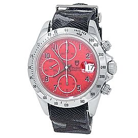 Tudor Prince Date Stainless Steel Grey Camo Fabric Auto Red Men's Watch 79280