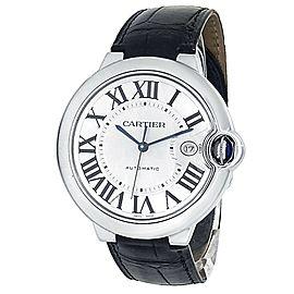 Cartier Ballon Bleu Stainless Steel Leather Auto Silver Men's Watch W69016Z4