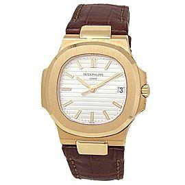 Patek Philippe Nautilus 18k Yellow Gold Leather Auto Silver Mens Watch 5711J-001