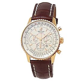 Breitling Montbrillant 18k Rose Gold Leather Automatic Silver Men's Watch R41370