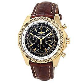 Breitling Bentley Motors 18k Yellow Gold Leather Auto Black Men's Watch K25362