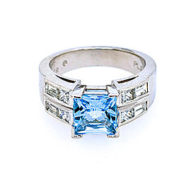 Jeff Cooper R-2983 Platinum Sky Blue Topaz & Diamonds Ring
