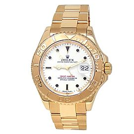 Rolex Yacht-Master 18k Yellow Gold Oyster Automatic White Men's Watch 166288