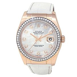 Rolex Datejust 18k Rose Gold Leather Diamond Mother of Pearl Ladies Watch 116185