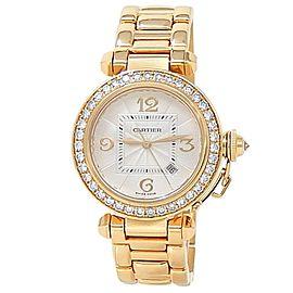 Cartier Pasha 18k Yellow Gold Automatic Diamonds Silver Ladies Watch 2397