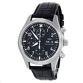IWC Pilot's Chronograph Stainless Steel Leather Auto Black Men's Watch IW371701