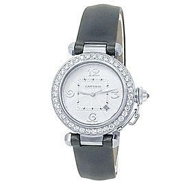 Cartier Pasha 18k White Gold Satin Leather Auto Diamond Silver Ladies Watch 2398