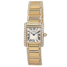 Cartier Tank Francaise 18k Yellow Gold Quartz Diamonds White Ladies Watch 2385