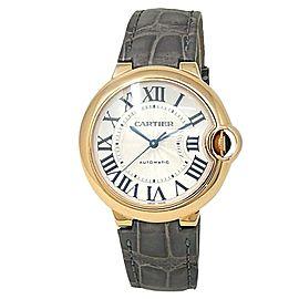 Cartier Ballon Bleu 18k Rose Gold Leather Automatic Silver Ladies Watch W6900456