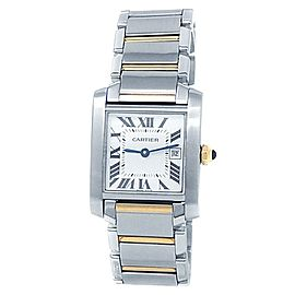 Cartier Tank Francaise Stainless Steel 18k Gold White Ladies Watch W51012Q4