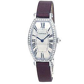 Cartier Tonneau 18k White Gold Leather Diamonds Silver Ladies Watch WE400131