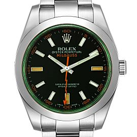 Rolex Milgauss Blue Dial Green Crystal Steel Mens Watch 116400GV