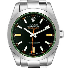 Rolex Milgauss Blue Dial Green Crystal Steel Mens Watch 116400V
