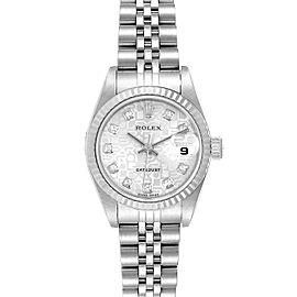 Rolex Datejust Steel White Gold Silver Diamond Dial Ladies Watch 79174