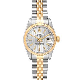 Rolex Datejust Steel Yellow Gold Tapestry Dial Ladies Watch 69173 Box Papers