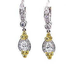 Charles Krypell Precious Pastel 1-9084-PLWY 18k Yellow Gold Fancy Yellow & White Diamonds Earrings