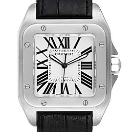 Cartier Santos 100 Silver Dial Black Strap Steel Mens Watch W20073X8 Box Papers