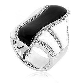 Oro Trend 18K White Gold Black & White Onyx Diamond Ring Size 6.75