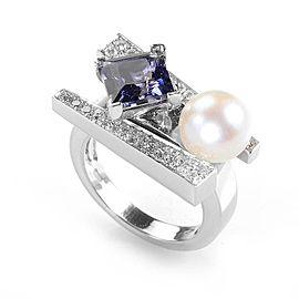 Koesia 18K White Gold Iolite, Diamond and Pearl Ring Size 7.25