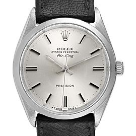 Rolex Air King Silver Dial Black Strap Vintage Steel Mens Watch 5500