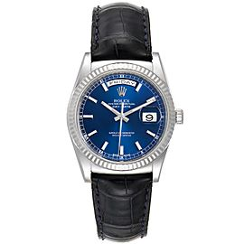 Rolex President Day-Date White Gold Blue Dial Mens Watch 118139