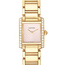 Cartier Tank Francaise Yellow Gold Rose Dial Diamond Ladies Watch 2403
