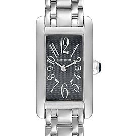 Cartier Tank Americaine Grey Dial 18K White Gold Ladies Watch 1713