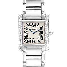 Cartier Tank Francaise Midsize White Gold Diamond Ladies Watch WE1009S3