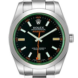 Rolex Milgauss Black Dial Green Crystal Steel Mens Watch 116400V Box Card
