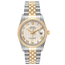Rolex Datejust Steel Yellow Gold Pyramid Roman Dial Mens Watch 16233