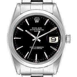 Rolex Date Smooth Bezel Black Dial Steel Vintage Mens Watch 1500