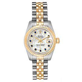 Rolex Datejust Steel Yellow Gold MOP Saphire Ladies Watch 179173