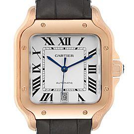 Cartier Santos 100 XL Rose Gold Silver Dial Mens Watch WGSA0007 Unworn