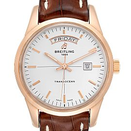 Breitling Transocean Day Date Rose Gold Mens Watch R45310 Box Papers