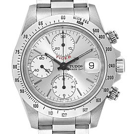 Tudor Prince Silver Dial Chronograph Steel Mens Watch 79280 Box Papers