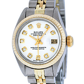 Rolex Datejust Stainless Steel and Yellow Gold White Diamond Dial 26mm Women's Watch