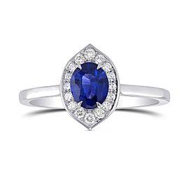 Leibish 14K White Gold Sapphire, Diamond Ring Size 6.5