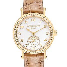 Patek Philippe Calatrava Moonphase Yellow Gold Diamond Ladies Watch 7121