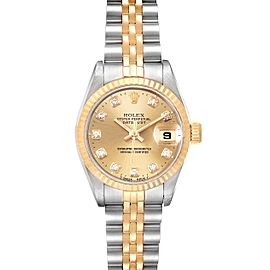 Rolex Datejust 26mm Steel Yellow Gold Diamond Ladies Watch 69173 Box