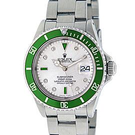 Rolex Submariner 16610 Diamond & Emerald Mens 40mm Watch