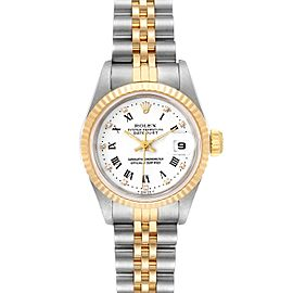 Rolex Datejust Steel Yellow Gold Roman Diamond Dial Ladies Watch 69173 Box