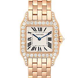 Cartier Santos Demoiselle Rose Gold Diamond Midsize Ladies Watch WF9007Z8 Box Papers