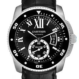 Cartier Calibre Diver Black Rubber Strap Steel Mens Watch W7100056 Box