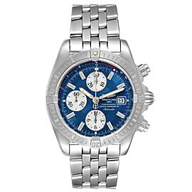 Breitling Chronomat Evolution Steel Blue Dial Steel Mens Watch A13356 Box