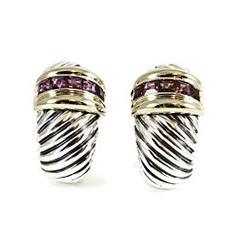 David Yurman Sterling Silver 14K Yellow Gold Large Rhodolite Garnet Shrimp Clip On Earrings