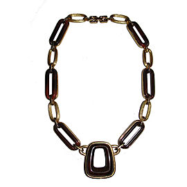 Givenchy Gold Plated Style Brown Swirl Bakelite Necklace