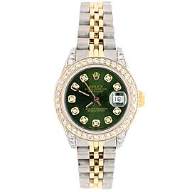 Rolex Datejust 26mm 2-Tone Yellow Gold and Steel Watch with Diamond Bezel/Forest Green Diamond Dial